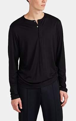 Theory Men's Plaito Silk-Cotton Long-Sleeve Henley - Black