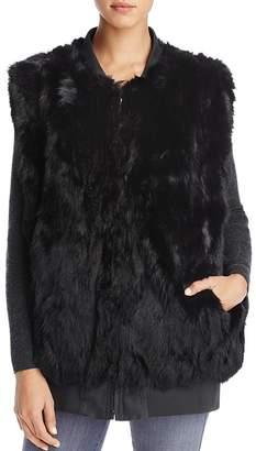 Adrienne Landau Reversible Bomber Rabbit Fur Vest - 100% Exclusive