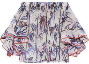 Emilio Pucci Off-The-Shoulder Stretch Silk-Trimmed Printed Organza Top