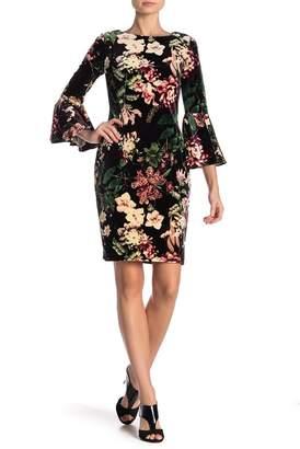 Modern American Designer Floral Velvet Bell Sleeve Dress
