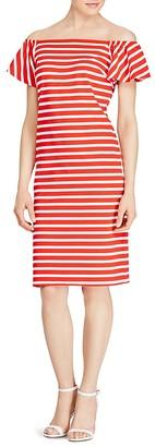 Lauren Ralph Lauren Stripe Ruffle Sleeve Shift Dress $99.50 thestylecure.com