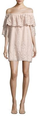 Parker Cathy Ruffled Off-The-Shoulder Eyelet Cotton Dress $298 thestylecure.com