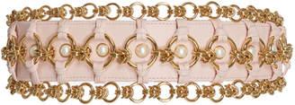 Balmain High Waist Pearl and Brass Chain Belt