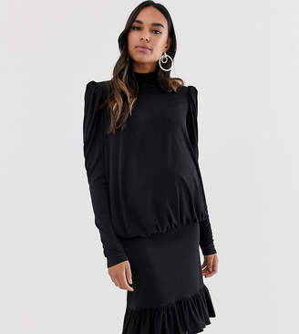 Queen Bee high neck ruched mini dress in black