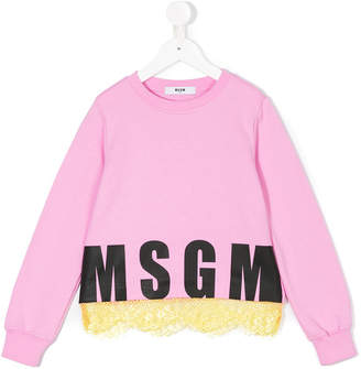 MSGM lace hem logo sweatshirt