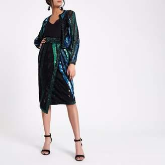 River Island Womens Green sequin embellished wrap midi skirt