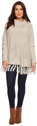 Dylan by True Grit Cozy Knit Sweater with Rib and Fringe Details Women's Sweater