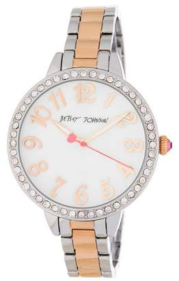 Betsey Johnson Women's Bedazzled Crystal Embellished Bracelet Watch, 38mm