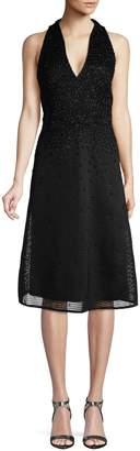 Aidan Mattox Mesh V-Neck Midi Dress