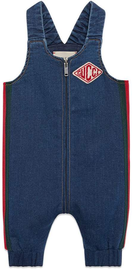 Gucci Kids Baby denim jersey overall