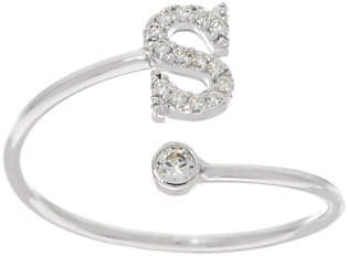 Diamonique Polished Adjustable Initial Ring,Sterling