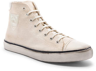Saint Laurent Bedford Patch Sneaker in Optic White & Sand   FWRD