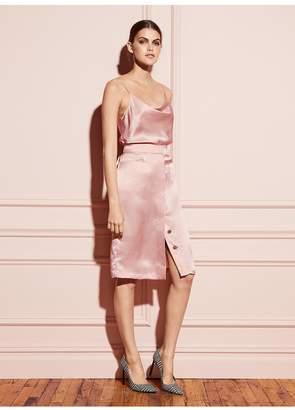 Fleur Du Mal Hammered Silk Placket Front Skirt