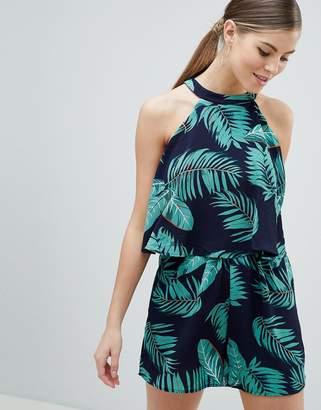 AX Paris High Neck Dress In Palm Print