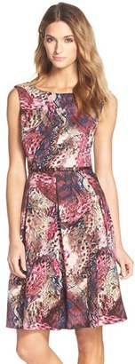 Ellen Tracy Belted Print Fit & Flare Dress $128 thestylecure.com