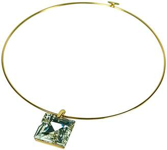Kenneth Jay Lane SQUARE CRYSTAL PENDANT ON A WIRE COLLAR NECKLACE. LE