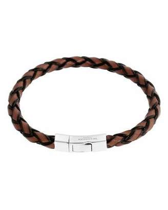 Tateossian Men's Braided Leather Silver Bracelet - L, Brown