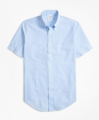 Brooks Brothers Regent Fit Gingham Seersucker Short-Sleeve Sport Shirt
