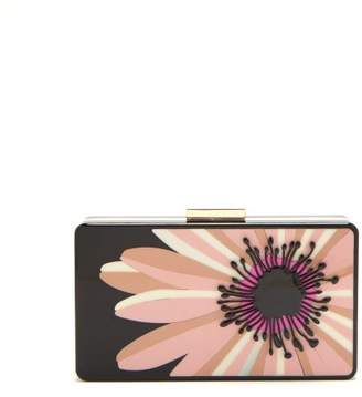 Valentino Floral Perspex Minaudiere Clutch - Womens - Black Pink