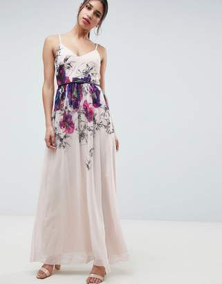Little Mistress Cami Maxi Dress In Floral Placement Print With Belted Waist