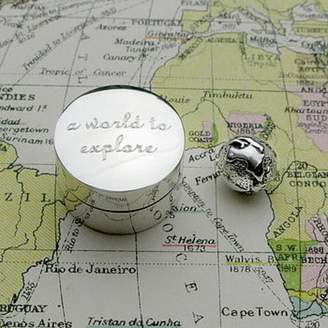 Tales From The Earth Personalised Silver 'World To Explore' Keepsake Box