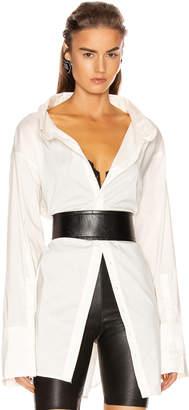 GRLFRND BF Button Down Blouse in White | FWRD