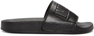McQ Alexander McQueen Black Leather Slides $225 thestylecure.com