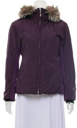 Post Card Fur-Trimmed Zip-Up Jacket