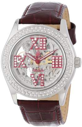 Burgmeister Ravenna Ladies Automatic Skeleton Watch BM140-100C With Swarovski Crystals And Red Leather Strap