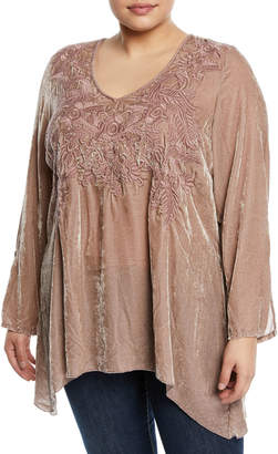 Johnny Was Plus Kamala Embroidered Velvet Tunic, Plus Size