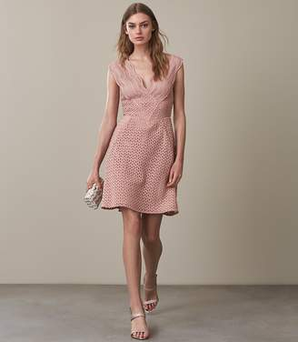 Reiss MARIANNA STRUCTURED LACE FIT AND FLARE DRESS Pink