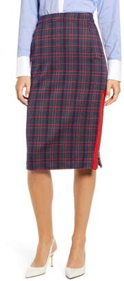 Tommy Hilfiger Herringbone Plaid Pencil Skirt