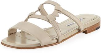 Manolo Blahnik Orafas Flat Leather Sandal