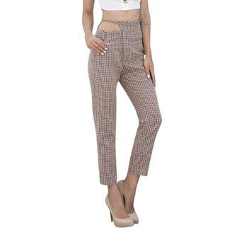 Equipment Muranba Pants Women Plaid Trousers Ladies Lace up Loose Pants Muranba (, S)