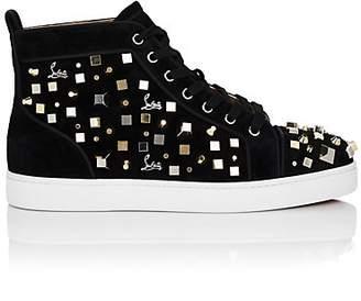 Christian Louboutin Men's Louis Cube Flat Suede Sneakers - Black