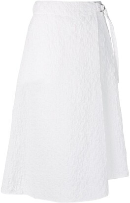 Jil Sander Navy textured draped skirt