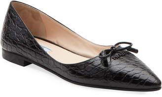 Prada Crocodile-Embossed Ballet Flats