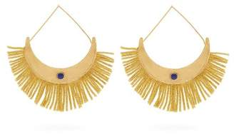 Aurelie Bidermann Azzura Fringed And Lapis Gold Plated Drop Earrings - Womens - Gold
