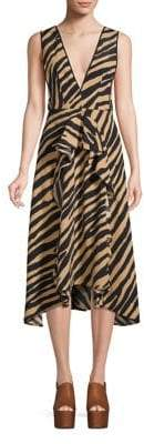 Topshop PETITE Zebra Print Pinafore Midi Dress