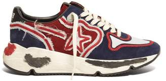 Golden Goose Running Sole Contrast Panel Low Top Trainers - Womens - Red Navy