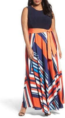 Plus Size Women's Eliza J Tile Print Jersey & Crepe Maxi Dress $168 thestylecure.com