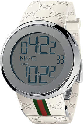 5fb85b577d8 Gucci 44mm I Digital Watch w   Rubber Web Strap White