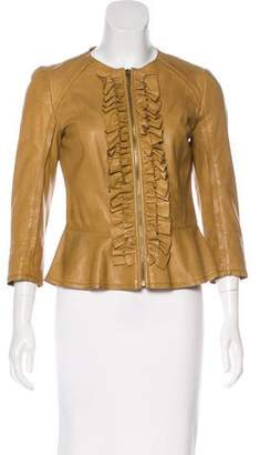 Tory Burch Leather Ruffle-Trimmed Jacket