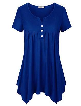 Fashionable Cyanstyle Tunics for Women to Wear with Leggings Ladies Short Sleeve Shirts Button Embellish Ultral Soft Cotton Material Elastic Fabric Roomy Attire Tops M