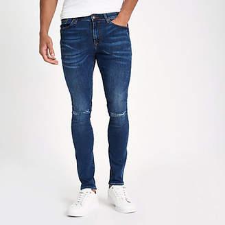 River Island Dark blue denim ripped super skinny jeans