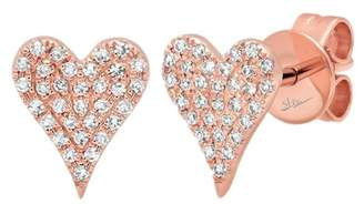 Ron Hami 14K Rose Gold Diamond Heart Stud Earrings - 0.14 ctw