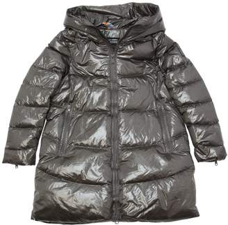 Hooded Laqué Nylon Down Coat