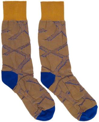 Issey Miyake Blue and Orange Tape Socks