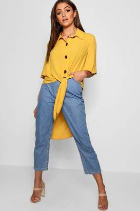 boohoo Woven Button Tie Front Shirt