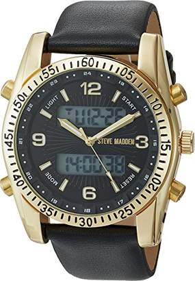 Steve Madden Men's SMW103G Analog-Digital Display Japanese Quartz Black Watch